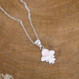collier pendentif ange pastel - argent 925