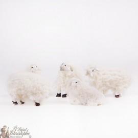 Pels schapenbont Kerstdorp decoratie - 5 stuks