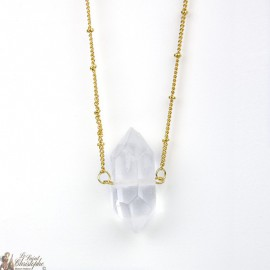 Necklace rock crystal stone - gold plated