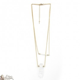 Necklace rock crystal stone - 2 rows