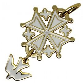 Croix Huguenote blanche plaqué or