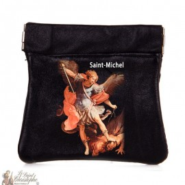 Rosary case or click clack coin holder in soft leather with effigy of Saint Michael the Archangel
