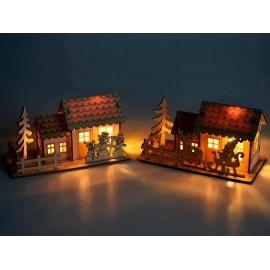 Chalet en bois naturel lumineux - LED - décoration