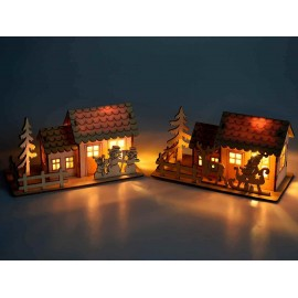 Lighted natural wood chalet - LED - decoration