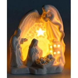 Crèche céramique ange blanche lumineuse  - LED