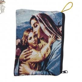 Etui à chapelet tissé - Sainte famille et Vierge à l'enfant