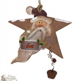 Customizable Santa Claus wooden star - Christmas tree decoration