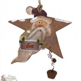 Etoile bois Père Noël personnalisable - décoration Sapin