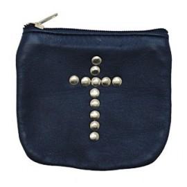 Etui en cuir bleu avec croix