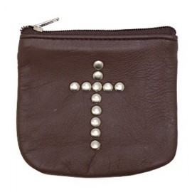 Brown leather case with cross