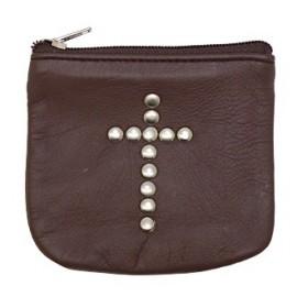 Etui en cuir brun avec croix