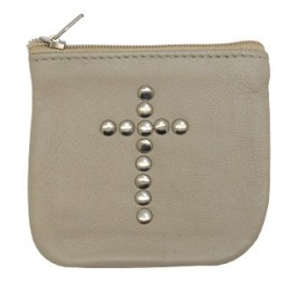 Beige leather case with cross