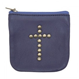 Purple leather case with cross