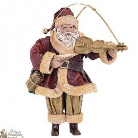 Père Noël musicien suspension - Sapin