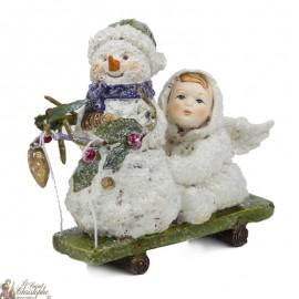 Suspensions de Sapin de Noël - Ange / Bonhomme de Neige traîneau - 3 pièces