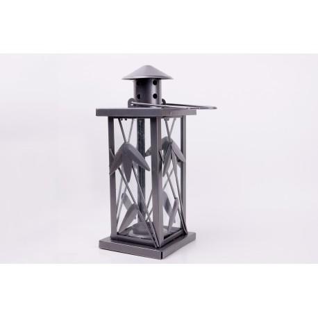 Lanterne gris métallisé - 27 cm