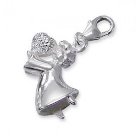 Pendant angel rhinestone charm - silver 925