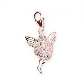 Pendant angel angel rhinestones pink charm - silver 925