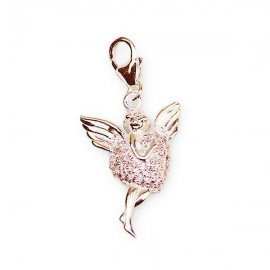 Pendentif ange strass roses charme - argent 925