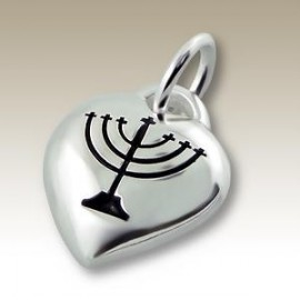 Menorah Heart Pendant - Silver 925