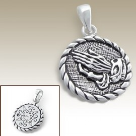 Christian pendant with praying hands - Genuine silver 925
