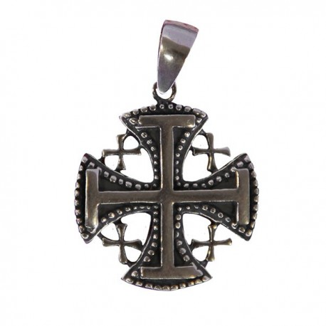 Pendentif croix Jérusalem - véritable Argent 925