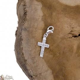 Pendentif croix cristal charme- véritable Argent 925