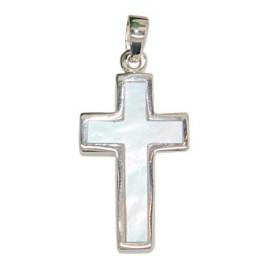 Pendentif croix nacre - véritable Argent 925