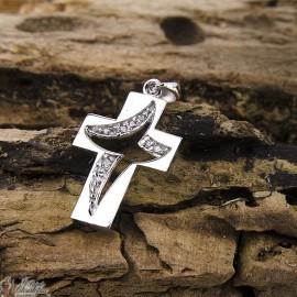 Pendentif croix cristaux moderne - véritable Argent 925