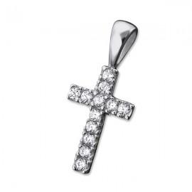 Pendentif croix cristal - véritable Argent 925