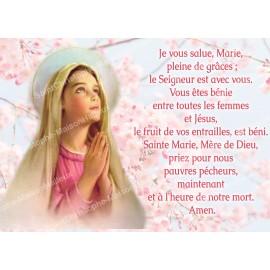 Carte postale Je vous Salue Marie prière - aimantée