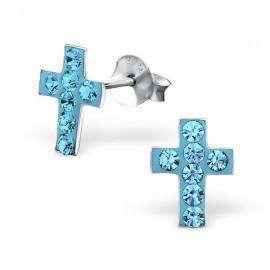 Boucles d'oreilles Croix incrustée cristaux - Argent 925