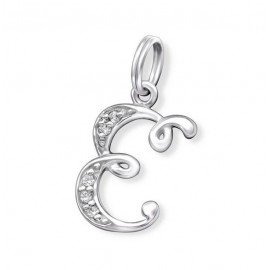 Pendant letter E crystal silver 925