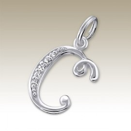 Pendant letter C crystal silver 925