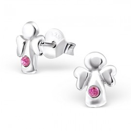 Pink crystal angels earrings - 925 silver