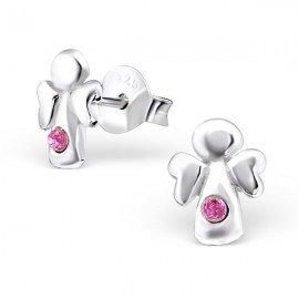 Boucles d'oreilles Anges cristal rose - Argent 925