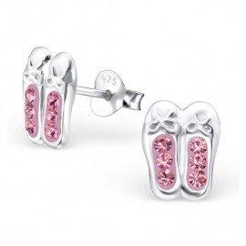 Boucles d'oreilles Ballerines cristal rose - Argent 925