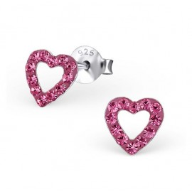 Earrings heart crystal - Silver 925