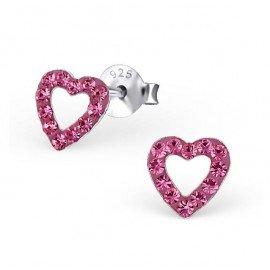 Boucles d'oreilles coeur cristal - Argent 925