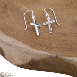 Boucles d'oreilles croix pendantes - Argent 925