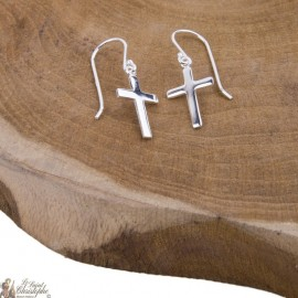 Cross earrings hanging - Silver 925