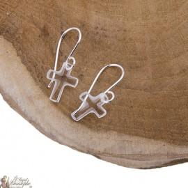 Boucles d'oreilles croix swarovski pendantes - Argent 925
