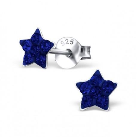 Blue star earrings - Silver 925