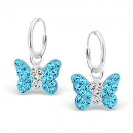 Blue Butterflies Earrings - Silver 925