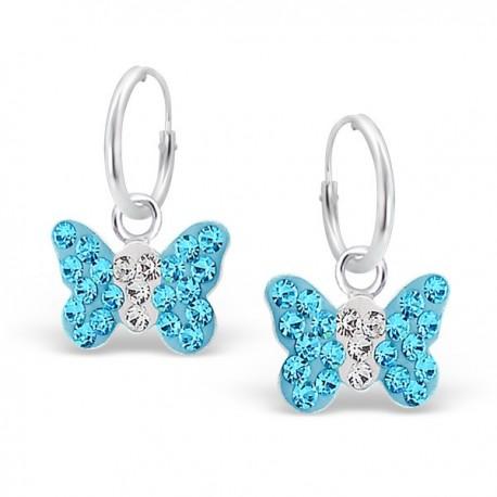 Blue Butterflies Earrings - Silver 925