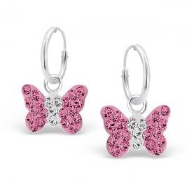 Boucles d'oreilles Papillons roses - Argent 925