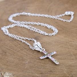 Multicolored rhinestone cross necklace - Silver 925