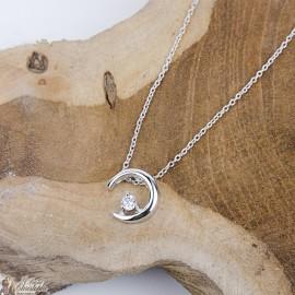 Collier croisant de lune zircon - Argent 925