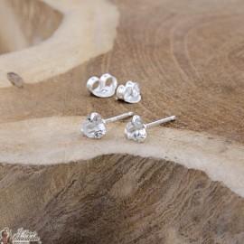 Boucles d'oreilles coeur cristal blanc - Argent 925