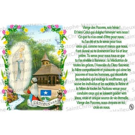 Carte postale Vierge des Pauvres de Banneux N.D prière - aimantée